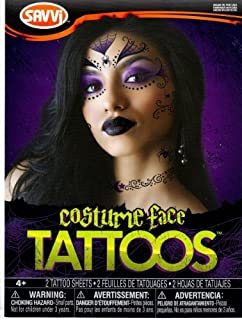 Goth Witch Costume Face Temporary Tattoos 2 Sheets Made in USA