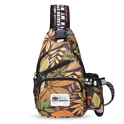 FANDARE Unisex Brusttasche,Messenger Bag Schultertasche für Damen und Herren, Crossbody Bag,zum Sport, Reisen und Joggen, Wasserdicht Polyester Braun