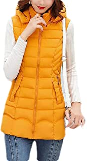 Macondoo Womens Outdoor Puffer Vest Winter Quilted Hooded Down Vest Coat