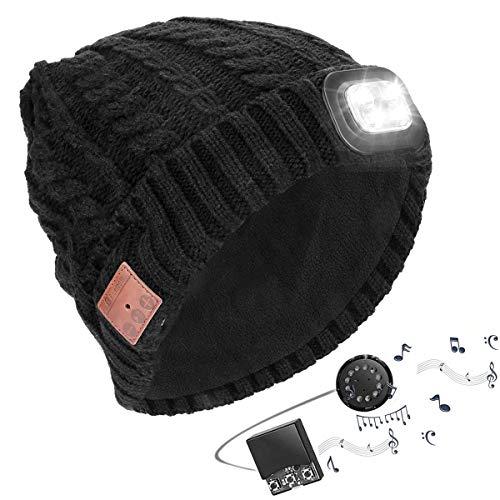 Powcan Sombrero Auricular Bluetooth con Linterna LED, Gorro Bluetooth Unisex con Audífono Inalámbrico, Bluetooth Beanie Compatible con Música y Llamadas, Recargable, Regalos Originales para Hombre