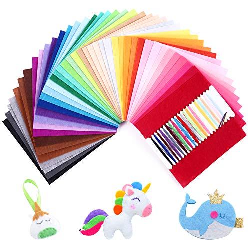 SOLEDI 41 Farben Filzstoff Weich Filztuch Geeignet für Nähen, 15 * 15cm Felt Fabric Filzplatten zum DIY Handwerk Nähen Projekte Patchwork
