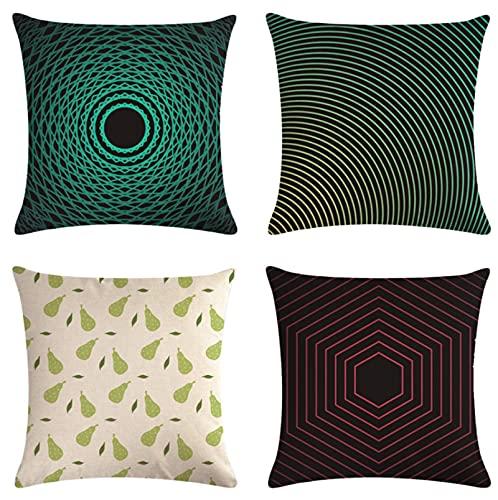 GjbCDWGLA Vintage Hermosa Impresión Throw Pillow Fundas Fundas De Cojín De Lino De Algodón Fundas De Cojín Sofá, Sofá - 18 X 18 Pulgadas 4 Piezas
