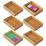 mDesign Juego de 6 cajas organizadoras para escritorio y lavabo – Caja rectangular de bambú – Organizador de madera para artículos de oficina y manualidades – color natural
