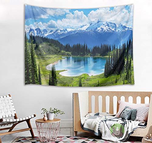 Tapeçaria de montanha de neve HVEST Árvores verdes e rio para pendurar na parede, tapeçarias de paisagem de primavera para quarto, sala de estar, dormitório, 203 cm de largura x 152 cm de altura