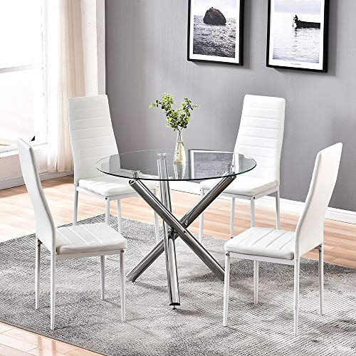 4HOMART Dining Table with Chairs Set, 5 PCS Round Glass Table Set Modern Tempered Glass Top Table with 4 White PU Leather Chairs Dining Room Furniture