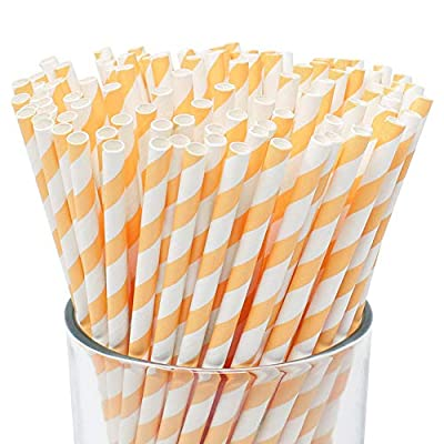 Just Artifacts 100pcs Premium Biodegradable Striped Paper Straws