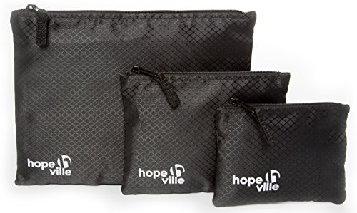 HOPEVILLE Travel Organizer Set, 3 assorted sized zipper bags for travel documents and travel accessories, Premium pouches for luggage, handbag or backpack (Black)