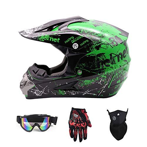 DLPAC Sport Motorrad Offroad Helm für Jugendliche Kinder, Full Face MTB Helm für...