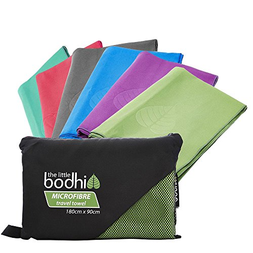 The Little Bodhi Microfiber travel towel, 180 cm x 90 cm, packtowl/camping towels, microfibre travel towel, green