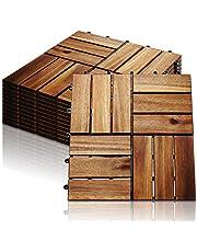Hengda 11-er set houten tegels 30x30cm acacia houten balkontegels, perfecte tegel voor dek, tuin, balkonterras (12 latten   1 m²)