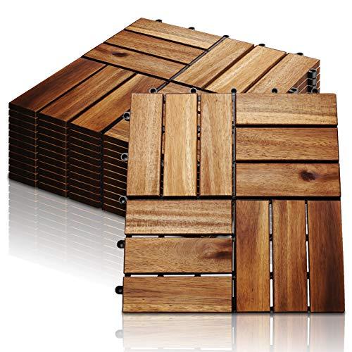 Hengda 22x Baldosas de madera en acacia, Decking Tiles, Azulejos de madera, para Patio balcón terraza jardín(Model A | 2m²)