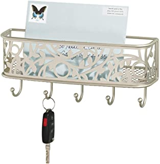 mDesign Wall Mount Metal Entryway Storage Organizer Mail Sorter Basket with 5 Hooks - Letter, Magazine, Coat, Leash and Key Holder for Entryway, Mudroom, Hallway, Kitchen, Office - Satin