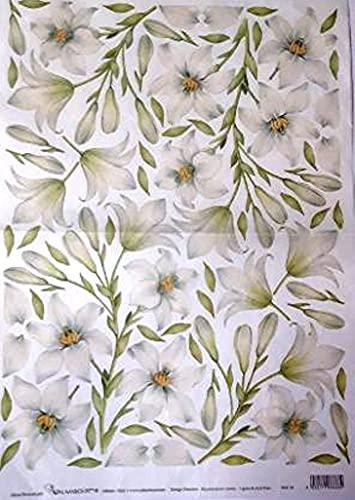 Carta di Riso per decoupage Fantasia Giglio Bianco 35x50 cm