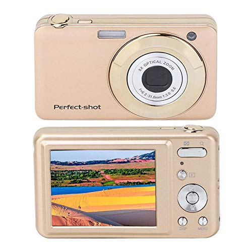 Great Price! Tosuny Digital Camera 8X Optical Zoom 720P 12MP 480240 Resolution HD 2.7in Touch Screen Built-in Microphone Mini Camera with Lithium Battery for Children Teenagers(Gold)