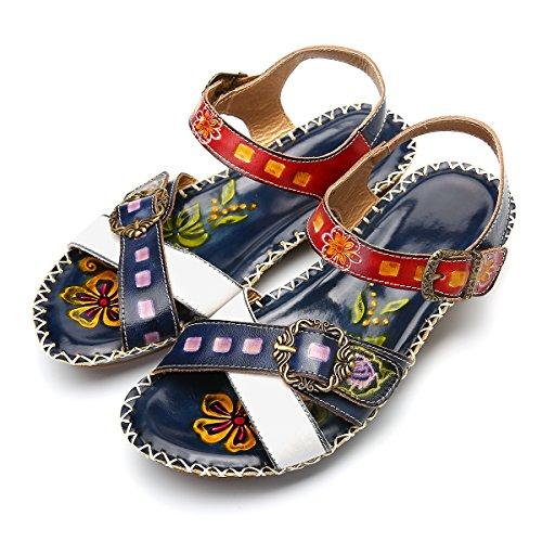 gracosy Sandalias de Mujer con cuña de Diapositivas Zapatos de Cuero Hechos a Mano de la Vendimia Zapatos Casual Merceditas Sandalia de Verano Flor de Empalme de Calzado Bohemio al Aire Libre