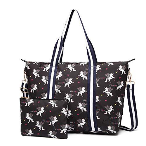 Miss Lulu Einhorn Muster bedruckte Einkaufstasche Große Handtasche Schulter Frauen Shopper Laptop Arbeitsreise Matte Wachstuch Wasserdicht (Schwarz)
