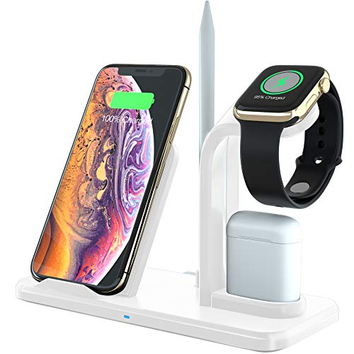 eAnjoy 4 in 1 Wireless Charging Station; Fast Wireless Phone Charger Stand for Wireless Phones, iWatch, Airpods; Compatible to iPhone, Samsung Phones and Other Qi Wireless Devices