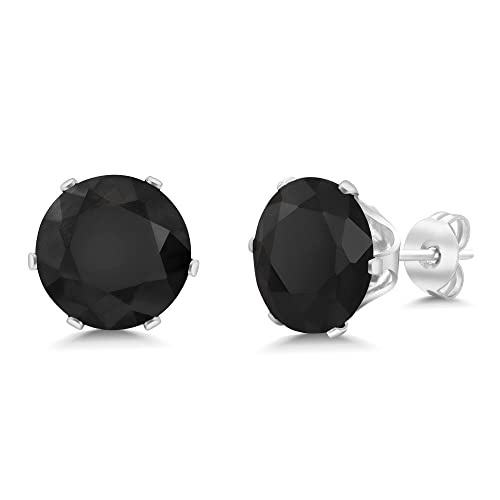 Gem Stone King 3.30 Ct Oval Black Onyx Gold Plated 4-prong Leverback Earrings 8x6mm