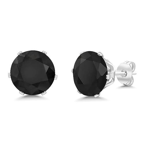 cd1e6cfa1 5.50 Ct Big 10MM Black Round Onyx Gemstone Birthstone Stud Earring