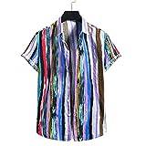 Hawaiana Camisa Hombre Verano Tendencia Moda Holgada Color Rayas Hombre Shirt Moderno Urbano Cárdigan Hombre Manga Corta Diario Casual All-Match Camiseta YC09 S