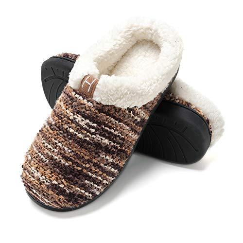 Zapatillas de casa Hombre, Forro algodón, Ultraligero cómodo y Antideslizante, Pantuflas de casa para Hombre, Café, 46/47 EU