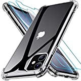 Joyguard Design pour Coque iPhone 11 avec 2 Verre trempé Protection écran, Souple TPU Silicone Shock-Absorption Coin Compatible avec iPhone 11 Coque - 6.1pouces - Transparent
