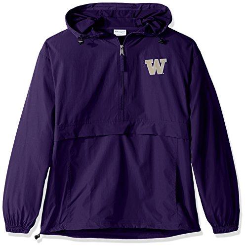 Champion NCAA Mens Half Zip Front Pocket Packable Jacket Washington Huskies X-Large