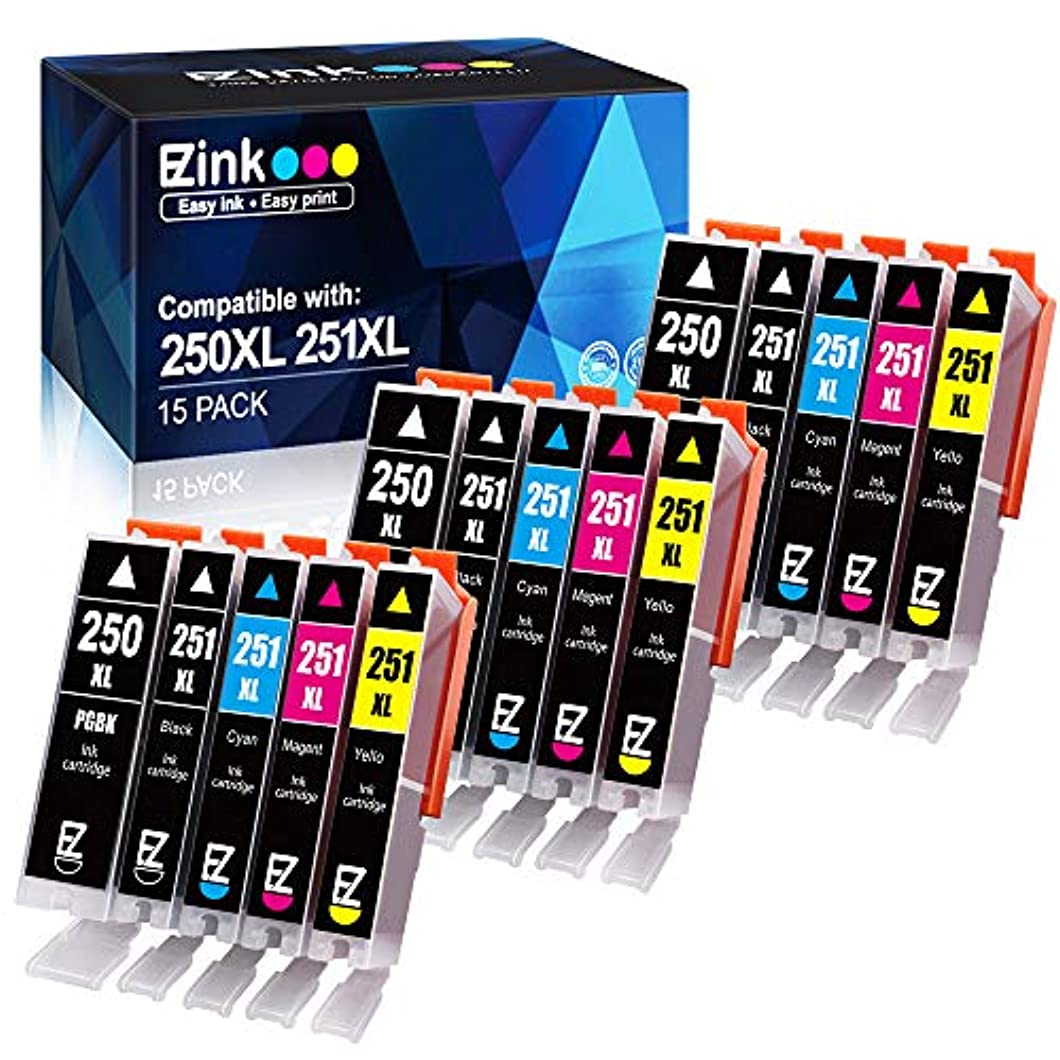 E-Z Ink (TM) Compatible Ink Cartridge Replacement for Canon PGI-250XL PGI 250 XL CLI-251XL CLI 251 XL to use with PIXMA MX922 MG5520 (3 Large Black, 3 Cyan, 3 Magenta, 3 Yellow, 3 Small Black) 15 pack hwdcyjt87
