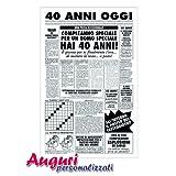 Bombo Biglietto Auguri Giornale Compleanno 40 Anni Amico