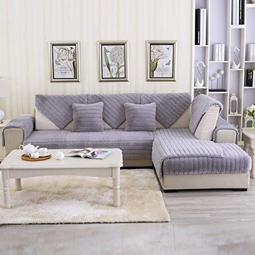 Yuzhijie Winter einfarbig Plüsch Sofakissen Dicke rutschfeste Wohnzimmer Sofakissen Handtuch Erker Fensterkissen, azul – 110 x 210 cm