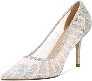 Miluoro حجر الراين أشار تو الفضة الكعب العالي النساء مضخات شفافة حزب الزفاف أحذية