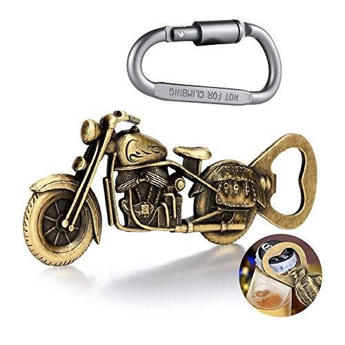 ALEMIN Vintage Motorrad Flaschenöffner, Bier Flaschenöffner geschenke für männer, Barkeeper Bierflaschenöffner Flaschenöffner für Bar Party, Motorrad-Biergeschenk mit Karabiner Schlüsselbund