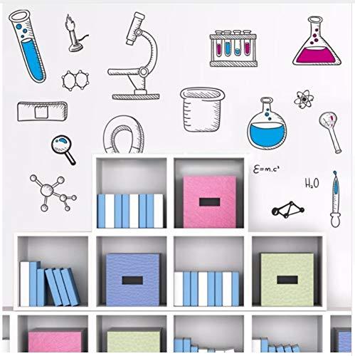 HAJKSDS Wandtattoos Wandbilder PVC Mikroskop Naturwissenschaft Chemie Schule Labor Vinyl Wandaufkleber Dekoration Für Kinderzimmer Wohnzimmer