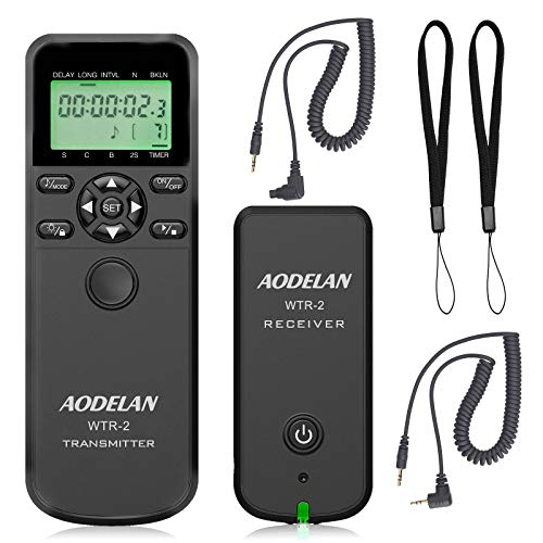 AODELAN Camera Wireless Shutter Release Timer Remote Control for Canon EOS R, ROS RP, 80D, 77D, 70D, 60D, 250D, 200D, 7D series, 5D series, T7, T6i, T6s, T5i, T4i, T3i, PowerShot SX70H, RS-60 & TC-80N