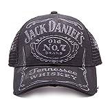 Meroncourt BIO-TC622004JDS Jack Daniel's Old No.7 Brand Embroidered Bleached Vintage Unisex Trucker Baseball Cap (One Size, Black)