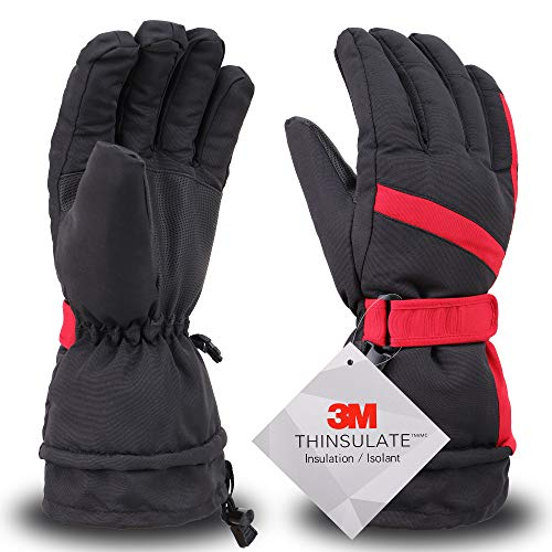 Simplity Ski Gloves Waterproof Snowboard Snow Warm Winter Skiing Gloves, Black Red, L
