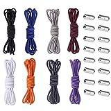 Anyasen cordones elasticos 16 Piezas Cordones elasticos adulto con Botón de Metal, sin Lazos Cordones Deportivos, para Zapatillas Deportivas Zapatos Casuales,8 color,100cm