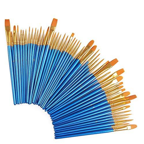 Willtone 50 pezzi Art Pennello Set perfetto per Acrilico olio Acquerelli Gouache e Face Painting long-handle Artista pennelli da Viaggio con Studenti Artista