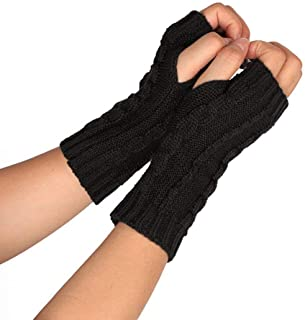SED Gloves - Outdoor Sports Glove, Ladies Gloves Fingerless Fashion Simple Warm Fluffy Style Cozy Driving Non-Slip Soft Mittens,Black,One Size
