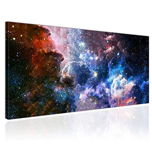 Topquadro Cuadro XXL sobre Lienzo, Imagen Panorámica 100x50cm, Galaxia, Estrellas y Planetas, Universo - Decoración de Pared, Imagen Panorámica - Una Pieza