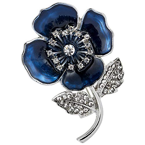 Dandelionsky Poppy Flower Brooches for Women Remembrance Poppies Pins Rhinestone Brooch Badge Gift Poppy Pins Badge (Blue)