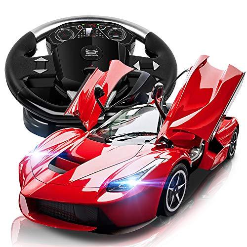 Lihgfw Fernbedienung Auto Lade Sportwagen Elektroauto Modell Racing Lenkrad Kinder Toy Boy Drift Schwerkraft Sensing Rotes Auto
