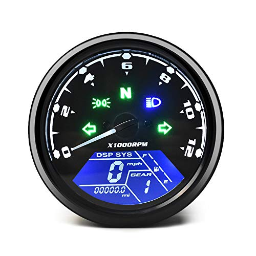 DKMOTORK 0011 Digital Gauge Motorcycle Speedometer/Tachometer/Odometer Universal with Multi-Function Indicator Light Display Black