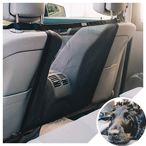 DOGUAL Car Dog Net Barrier - Universal Fit Sturdy Mesh, Easy to Install, Convenient for Air Conditioning, Easy to Clean & with Flexible Bungee Cords for Seat Movement