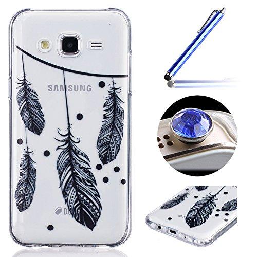 Etsue Case Pour Samsung Galaxy J5(2015),Ultra-minces TPU Silicone Coque Black pattern Case Pour Samsung Galaxy J5(2015),Diux Chir Housse Noir Motif Cover pour Samsung Galaxy J5(2015) + 1 x Bleu stylet + 1 x Bling poussière plug (couleurs aléatoires)-plume