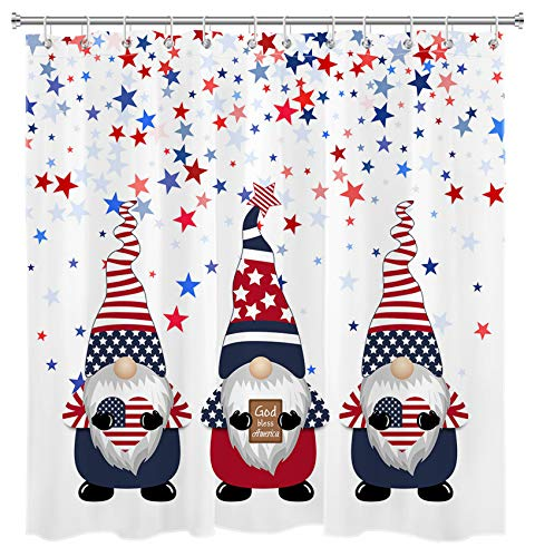 LB Duschvorhang, amerikanische Flagge, Zwerge, sternförmig, rot, marineblau, USA-Flagge, 4. Juli, Unabhängigkeitstag, patriotische Badezimmerdekoration, 183 x cm, wasserdichter Polyester-Stoff