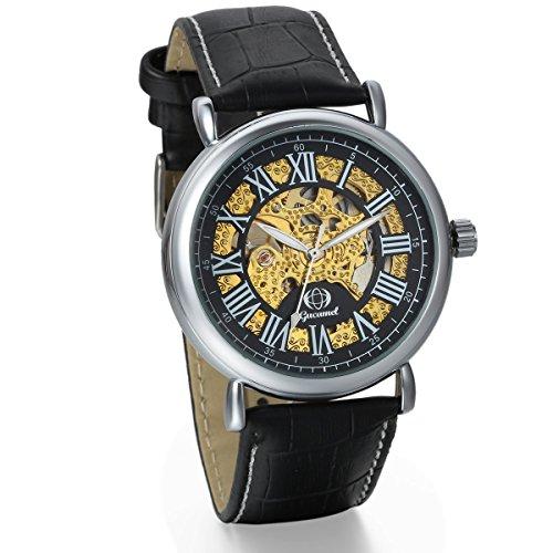 JewelryWe Herren mechanische Armbanduhr, Business Casual Skelett Mechanik Leder Armband Uhr mit römische Ziffern Zifferblatt, Schwarz Gold