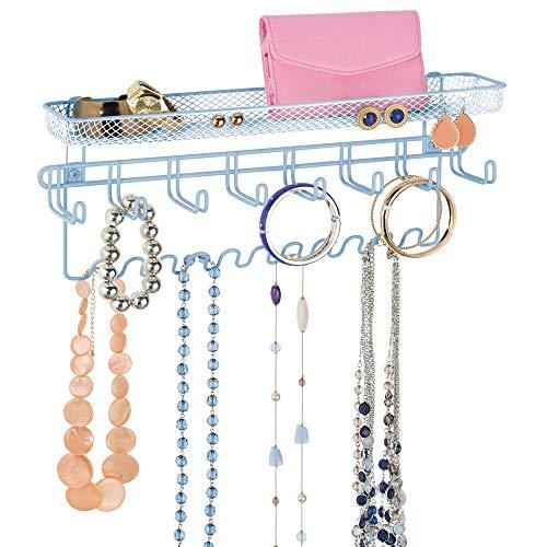 mDesign - Sieradenorganizer - sieradenrek/bergruimte voor sieraden - wandmodel/met 19 haken en opbergmand/sterk metaal - carolina blauw