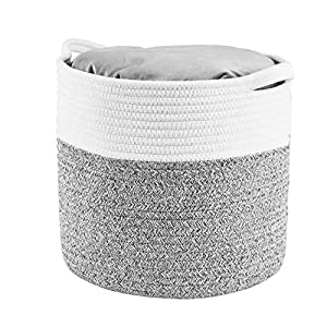 HITSLAM Woven Rope Basket with Handles, Collapsible Laundry Basket, Cotton Storage Basket for Towels Blanket Toys (Gray)