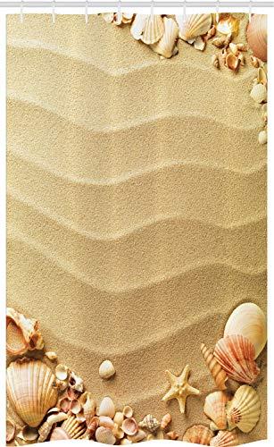 ABAKUHAUS Strand Schmaler Duschvorhang, Sand mit Muscheln Wellen, Badezimmer Deko Set aus Stoff mit Haken, 120 x 180 cm, Sandbraun Mehrfarbig